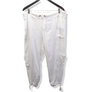 XCVI Cropped White Cinched Drawstring Joggers
